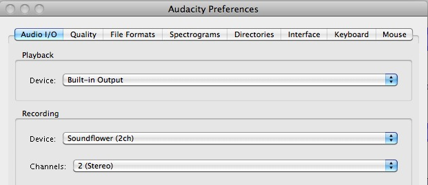 Audacity record audio output mac
